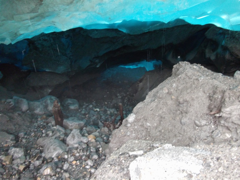 Entering the ice cave at Mendenhall Valley Glacier