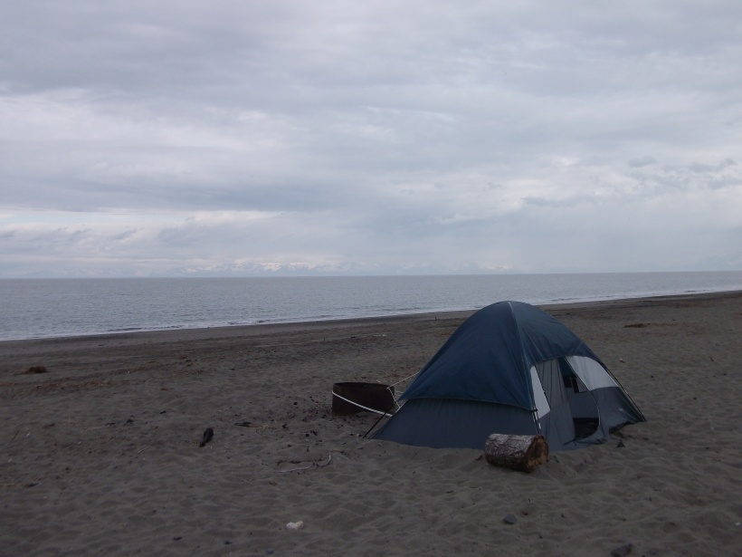 Camping on Kenai Beach, Kenai, Alaska.