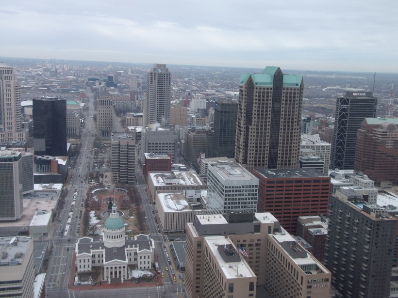The view of St. Louis, MO from the Arch