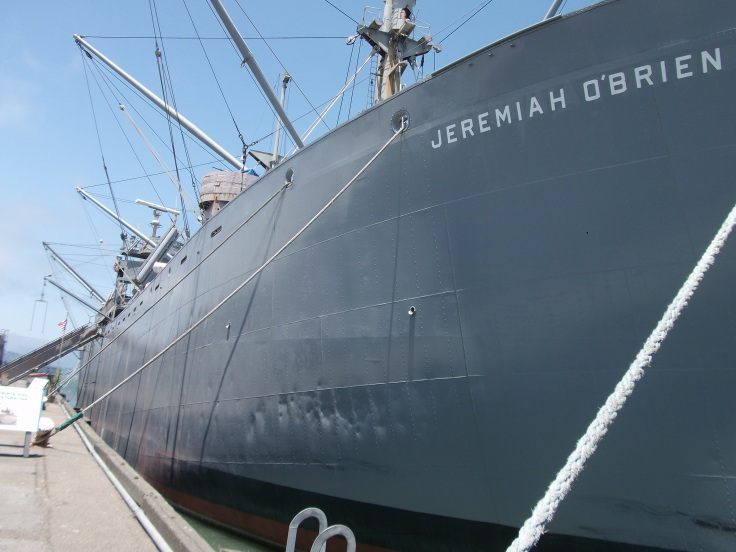 THe SS Jerimiah O'Brien, one of two operating Liberty ships from WWII.